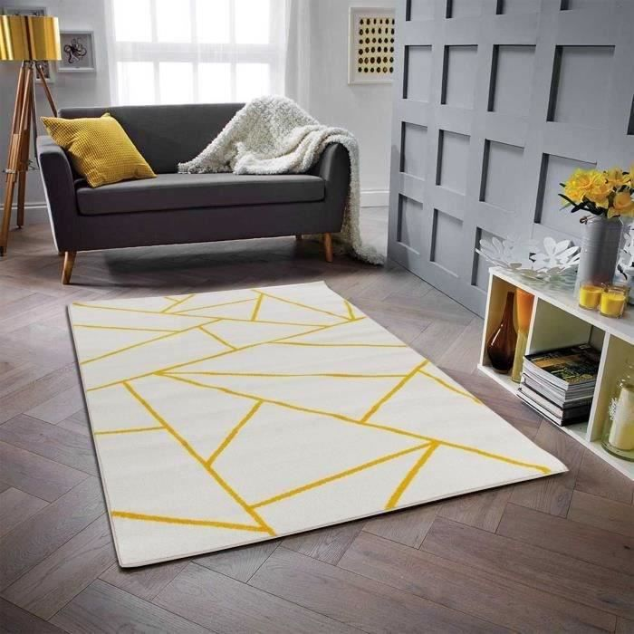Tappeto soggiorno in polipropilene GALA - 120 x 160 cm - bianco e giallo - motivo geometrico