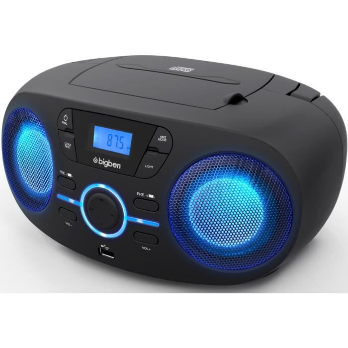 BIGBEN CD61NUSB Lettore CD / USB / RADIO portatile con effetti di luce - Nero