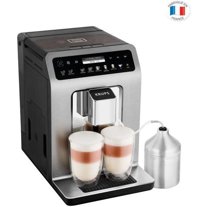 KRUPS - Caffettiera 4132 - Espresso con macinino Evidence plus Titanium - Lattiera in acciaio inossidabile - 1450W - 15 bar - Serbatoio acqua 2,3L