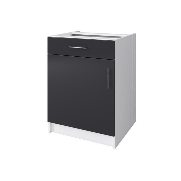 OBI Caisson bas de cuisine avec 1 porte, 1 tiroir L 60 cm - Blanc et gris laqué brillant