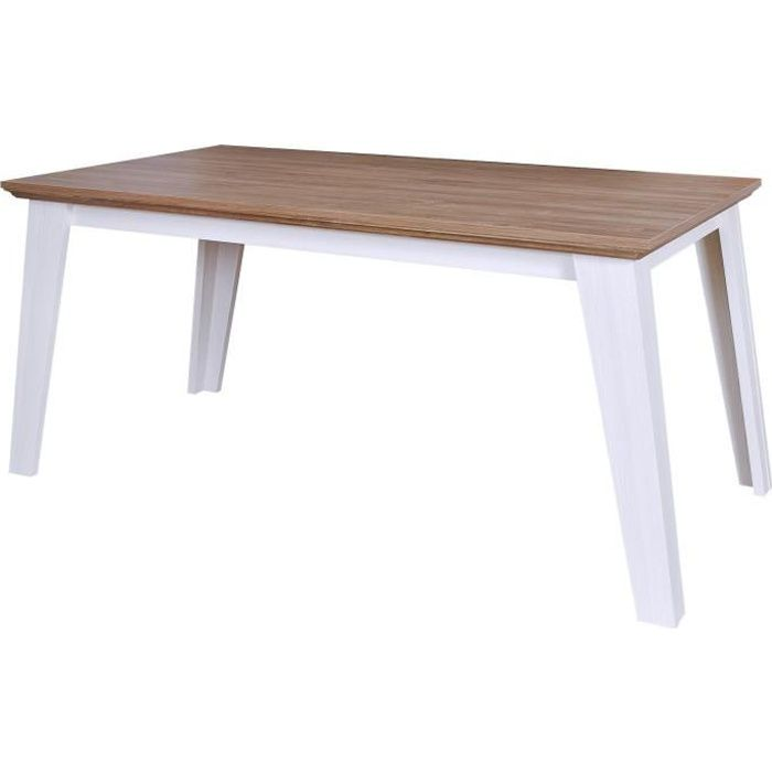 GLENVILLE Table a manger classique de 6 a 8 personnes décor blanc patiné et plateau décor chene - L 160 x l 90 cm