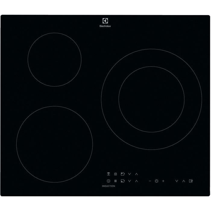 ELECTROLUX CIT60331CK Piano cottura a induzione - 3 zone - 7350 W - L 59 x P 52 cm - Rivestimento in vetro - Nero