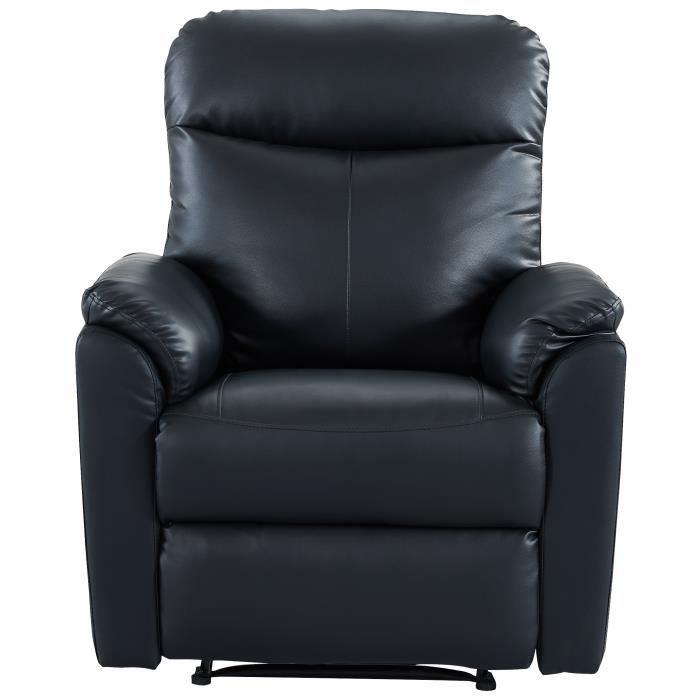 MAX Fauteuil de relaxation - Simili PU noir - Classique - L 100 x P 93 cm