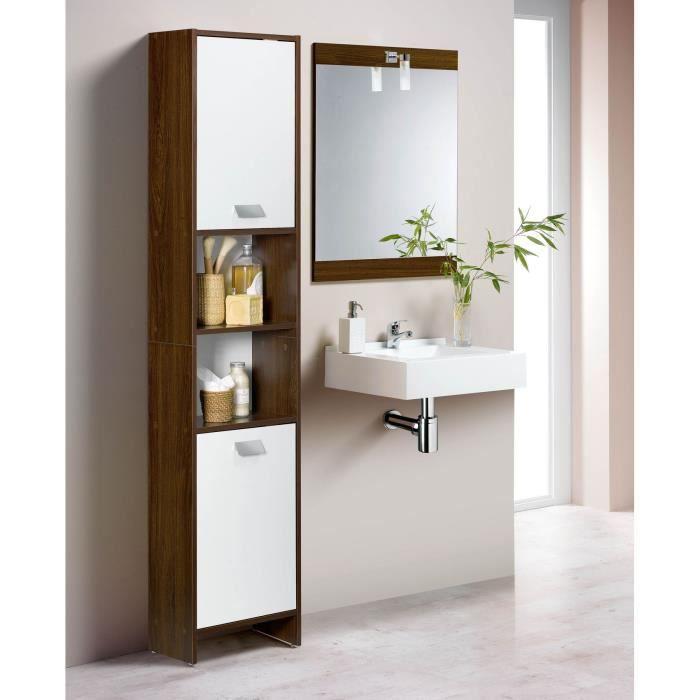 TOP Colonne de salle de bain L 40 cm - Décor wengé et blanc mat