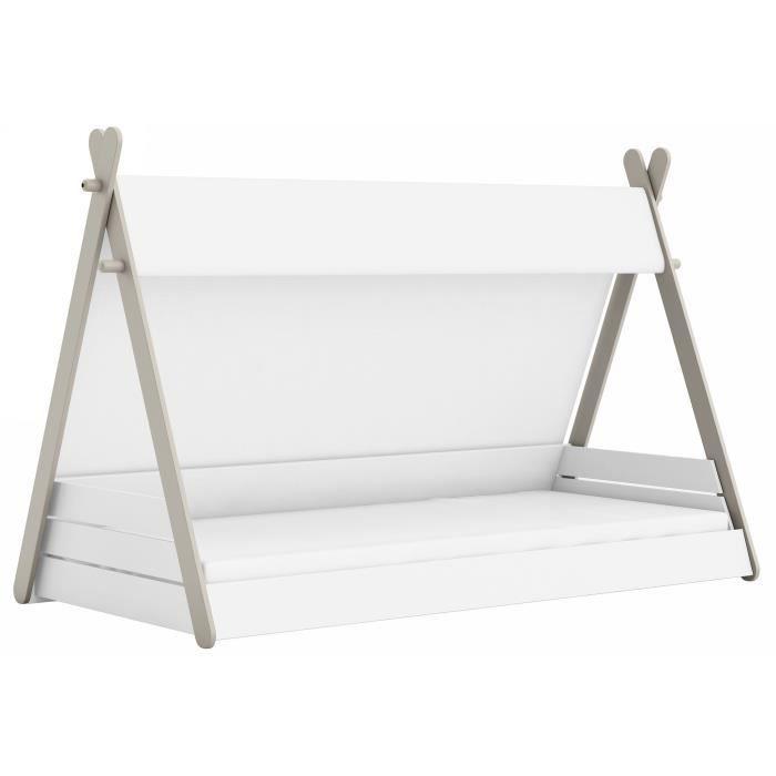 TOTEM Lit enfant avec sommier contemporain laqué blanc perle et gris - l 90 x L 200 cm