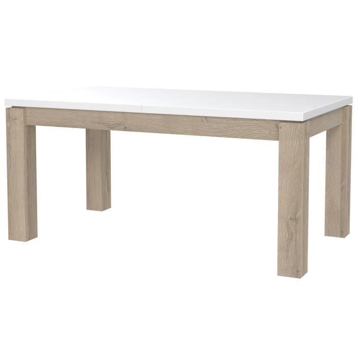 BIANKO Table a manger extensible de 6 a 10 personnes style contemporain blanc et décor chene - L 160 / 206,6 x l 90 cm