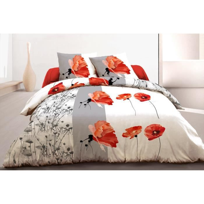 Parure de couette 100% Coton PRINTEMPS - 1 housse de couette 240x260 cm + 2 taies d'oreillers 63x63 cm blanc, gris et rouge