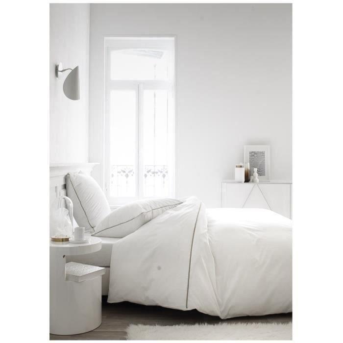 Besole000 Set piumone Leonie - 100 percalle di cotone - 220 x 240 cm - Panna montata e mastice bianchi
