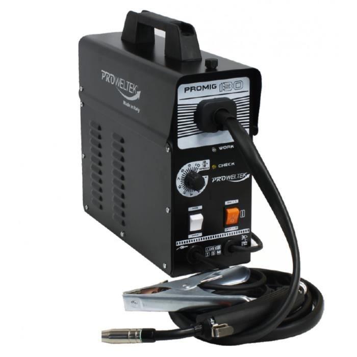 Saldatrice PROWELTEK PROMIG 130 - Fornita con 2 bobine di filo animato Ø 0,9 mm e guanto da saldatore resistente al calore