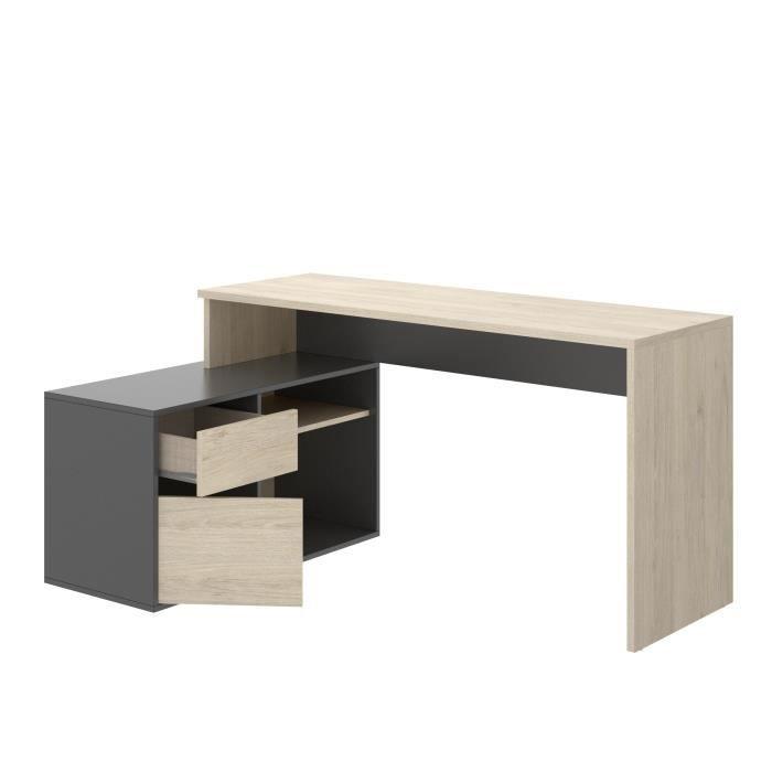 Bureau d'angle reversible 1 tiroir + 1 porte - Décor chene et gris - L 139 x P 92  x H 75 cm - ROX