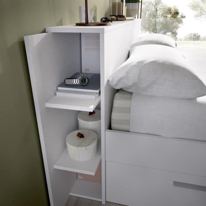 SAX Lit adulte - 3 tiroirs + Tete de lit avec rangement - Blanc - 140x190 cm