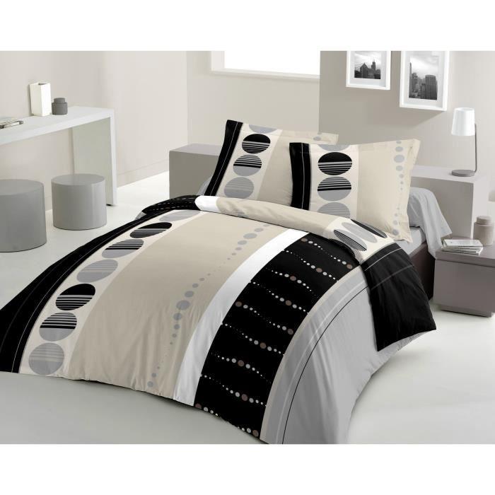 LOVELY HOME Parure de couette SILICIUM 100% coton - 1 housse de couette 240x260cm + 2 taies d'oreillers 65x65cm - Noir et gris