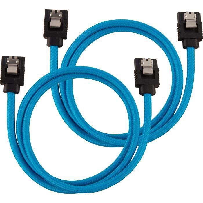 Cavo con guaina CORSAIR Premium SATA 6 Gbps blu, diritto da 60 cm - (CC-8900255)