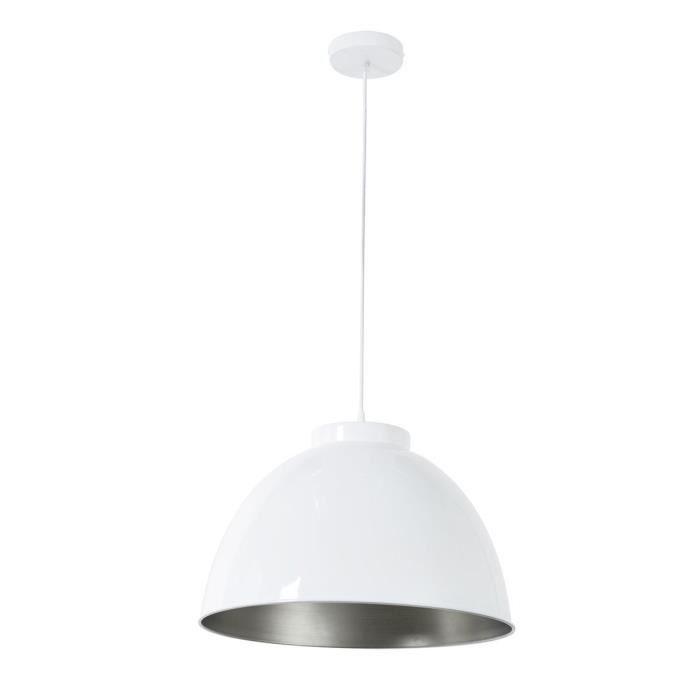 COREP Lampada a sospensione in metallo Dock - Ø 45 cm - H 31 cm - E27 - 60 W - Bianco lucido