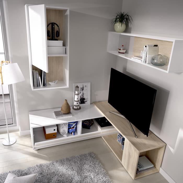 Meuble TV extensible - Décor chene naturel et blanc - L 230 x P 41 x H 180 cm - OBI