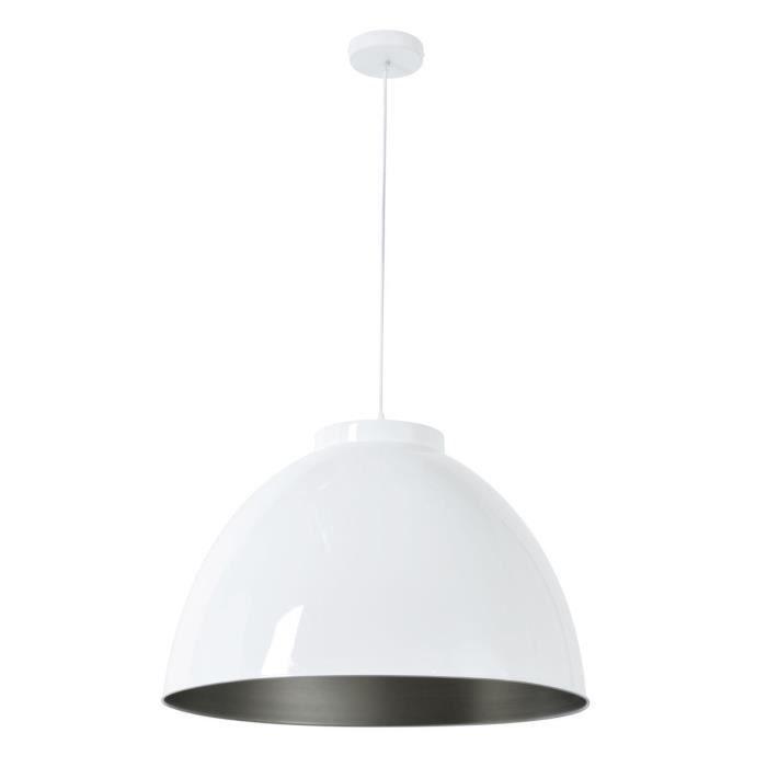 COREP Sospensione in metallo Dock XXL - Ø 60 cm - H 39 cm - E 27-60 W - Bianco lucido