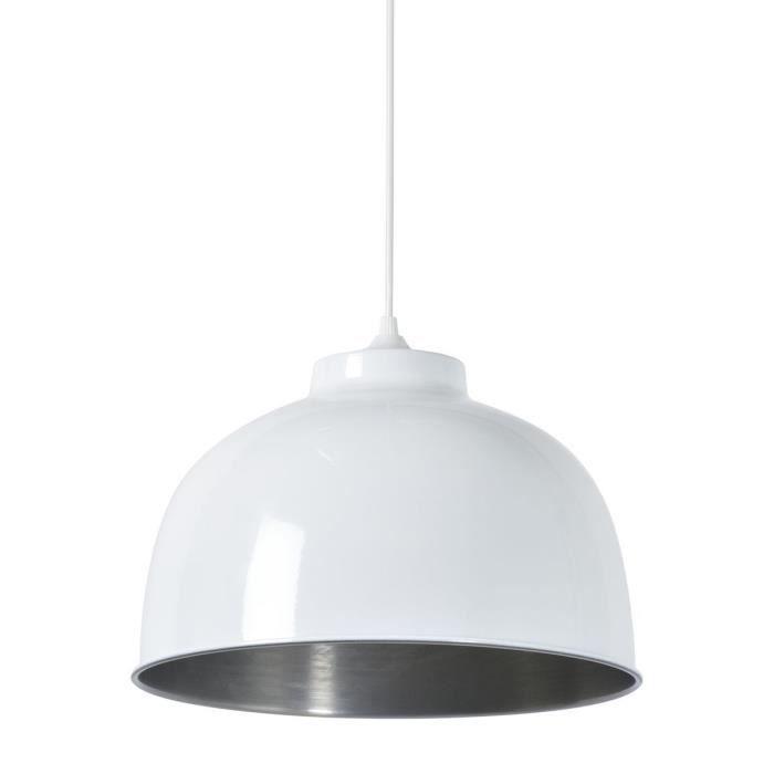 COREP Lampada a sospensione in metallo Little Dock - Ø 31 cm - H 21,50 cm - E27 - 60 W - Bianco lucido