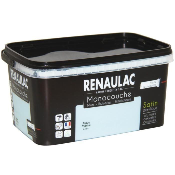 Pittura murale satinata acquamarina monostrato multistrato 2,5 L Pareti / Falegnameria / Radiatori - RENAULAC