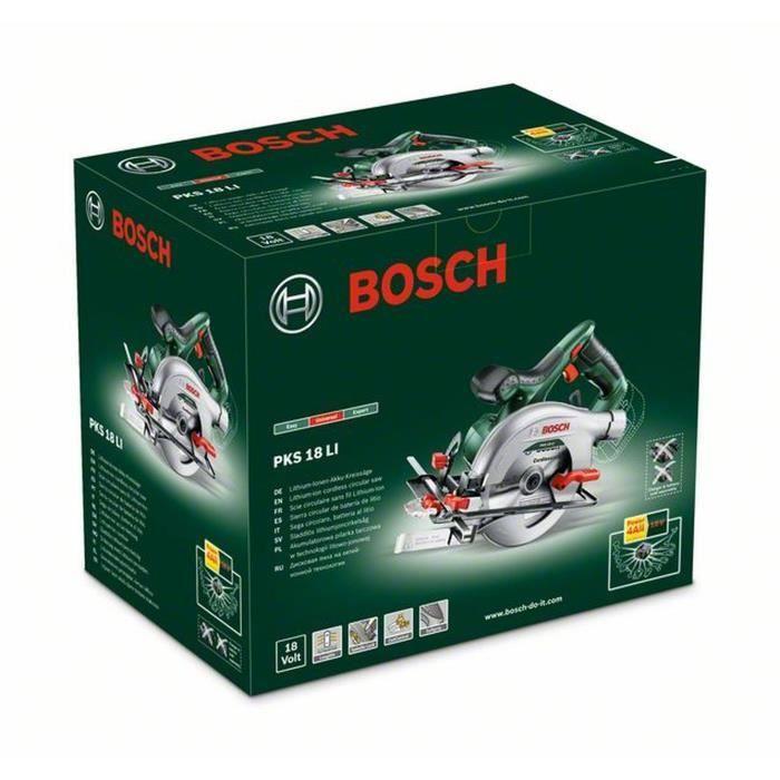 Scie circulaire sans fil Bosch - PKS 18 LI (Livré sans batterie batterie 18V ni chargeur, avec lame de scie et butée parallele)