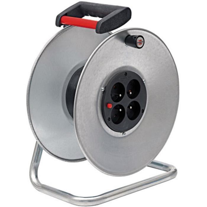 Brennenstuhl Enrouleur de câble Silver avec 4 prises - livré sans câble - Fabrication Française