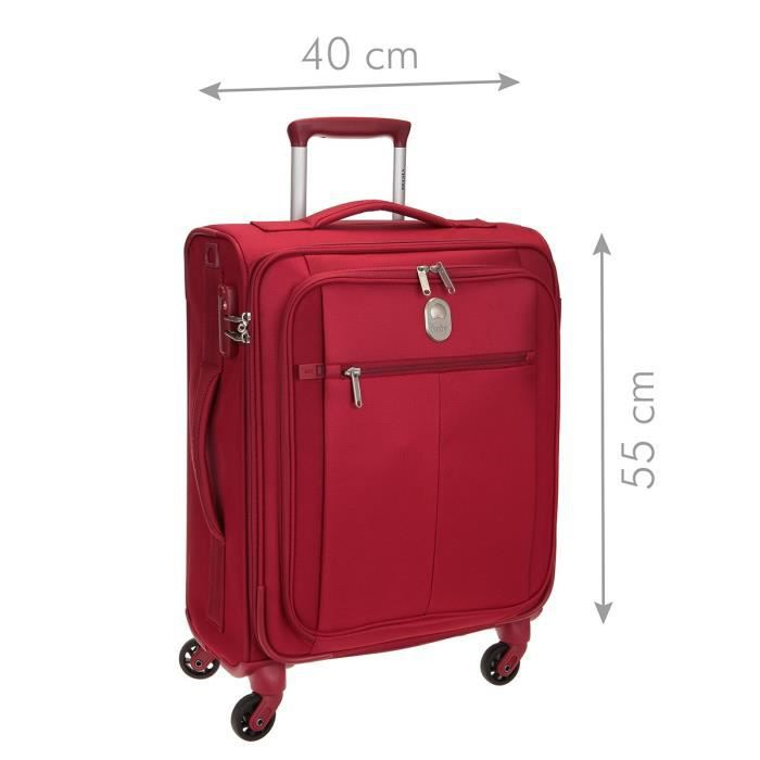 DELSEY Valise Cabine Low Cost Souple 4 Roues 55cm PIN UP5 Rouge