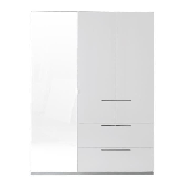 SUNRISE Armoire de chambre style contemporain - Laqué blanc brillant - L 162 cm