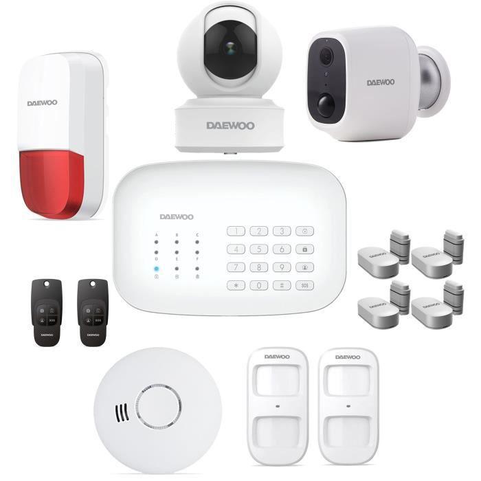Pacchetto allarme DAEWOO Wifi / GSM - Modello SA621 fornito con 11 accessori, 2 telecamere e 1 sirena