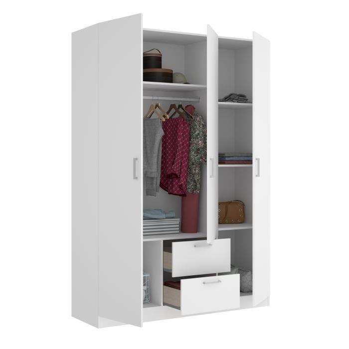 Armoire 3 portes + 2 tiroirs - Blanc - L 150 x P 52 x H 215cm - MAXI