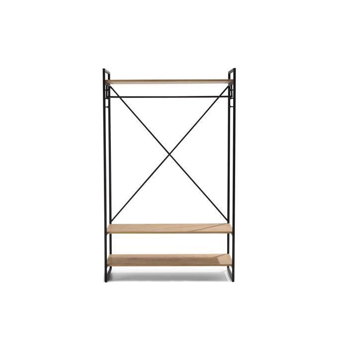 Etagere penderie KENTON industriel en métal et bois pin massif - Noir laqué et bois verni naturel - L 110 cm