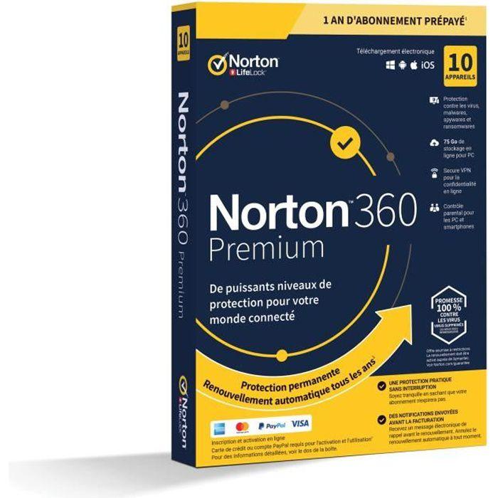 NORTON 360 Premium 75 GB FR 1 Utente 10 Dispositivi - 12 MB STD RET ENR MM