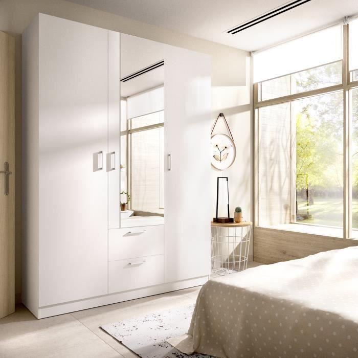 Armoire 3 portes + miroir + 2 tiroirs - Blanc - L 150 x P 52 x H 215cm - MAXI