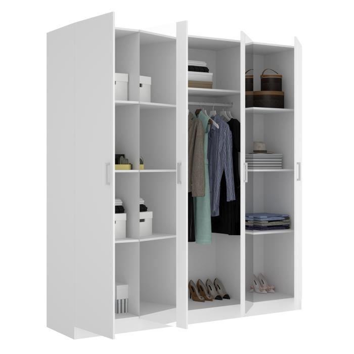 Armoire 4 portes + miroir - Blanc - L 200 x P 52 x H 215cm - MAXI