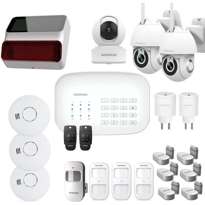 Pacchetto allarme DAEWOO Wifi / GSM - Modello SA623 fornito con 19 accessori, 3 telecamere e 1 sirena
