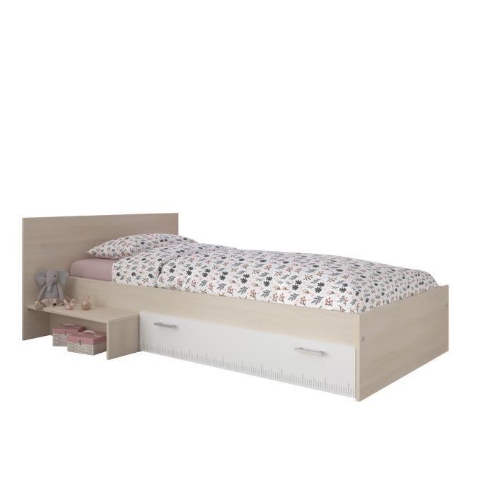 Lit enfant 90 x 200 décor acacia et blanc tiroir - Contemporain - CHARLEMAGNE
