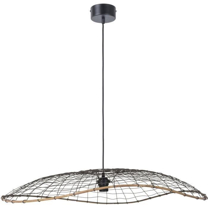 COREP Lampada a sospensione piatta - Metallo intrecciato a mano - Ø 80 cm - Antracite