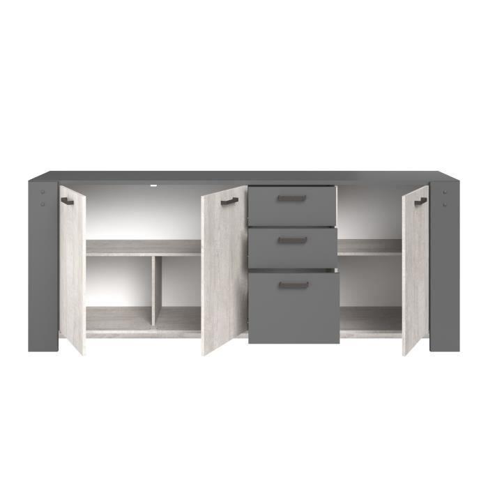 PARISOT Enfilade 3 portes et 3 tiroirs - Décor gris - L 220 x P 52 x H 86,5 cm - LOFT