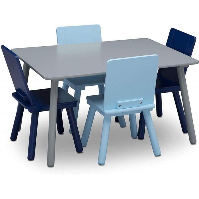 DELTA CHILDREN Tavolo rettangolare grigio 4 sedie in legno blu