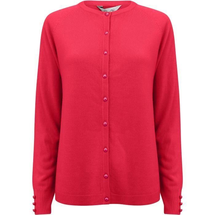 Bottone a cardigan color prugna con scollo tondo solido rosa donna