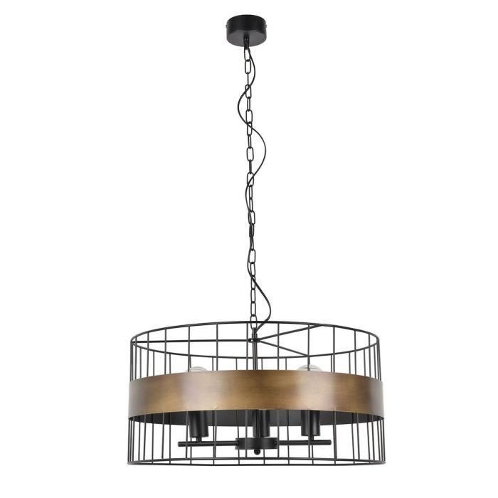 COREP Lampada a sospensione in metallo grezzo - Ø 58 cm - H 30 cm - 40 W - Nero e bronzo