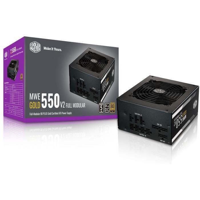 COOLER MASTER MWE Gold 550W FM V2 - Alimentatore modulare da 550W 100 (garanzia di 5 anni con certificazione 80 Plus GOLD) Cavi piatti neri