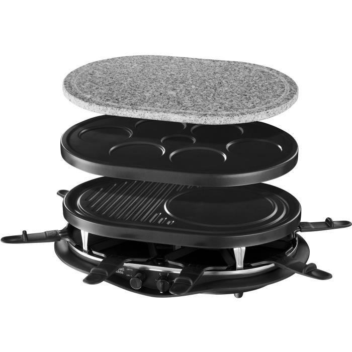 Russell Hobbs 21000-56 Raclette multifunzione Quatuor 1200W 8 persone, pietra per grigliare, piastra per griglia, piatti per pancake