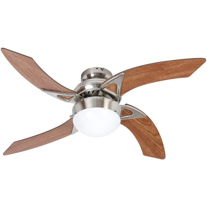 Ventilatore da soffitto - MOOREA - 107cm - 4 pale - 1 lampada reversibile