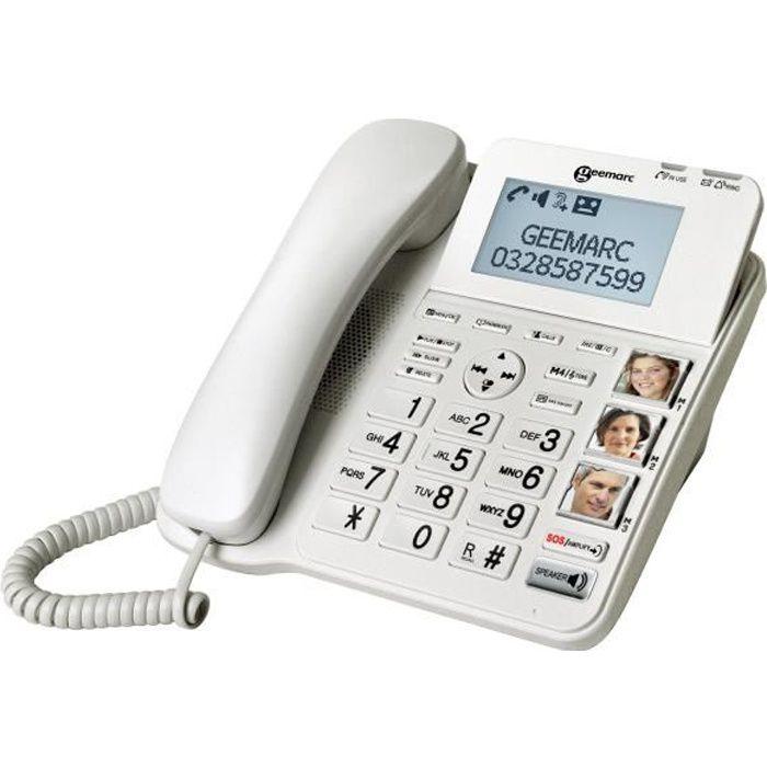 GEEMARC CL595 Telefono fisso senior amplificato, pulsanti grandi con foto e pulsanti SOS