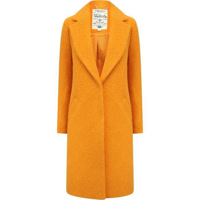 TOKYO LAVANDERIA Tasche laterali lunghe cappotto cappotto tinta unita giallo donna
