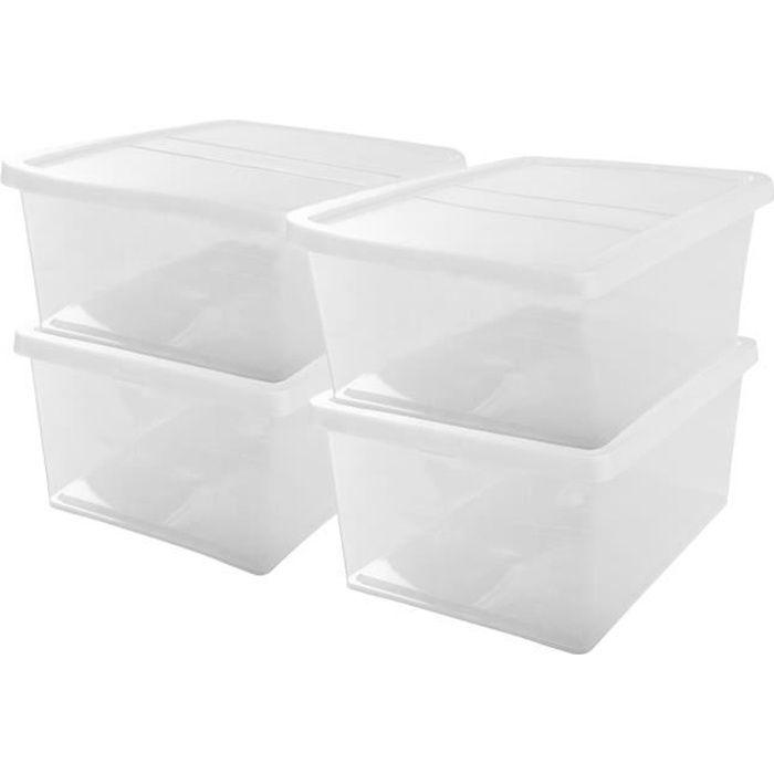 IRIS OHYAMA Set di 4 contenitori con coperchio NCB-40 - 4x 40 L - L54 x P39,5 x H24,5 cm - Trasparente
