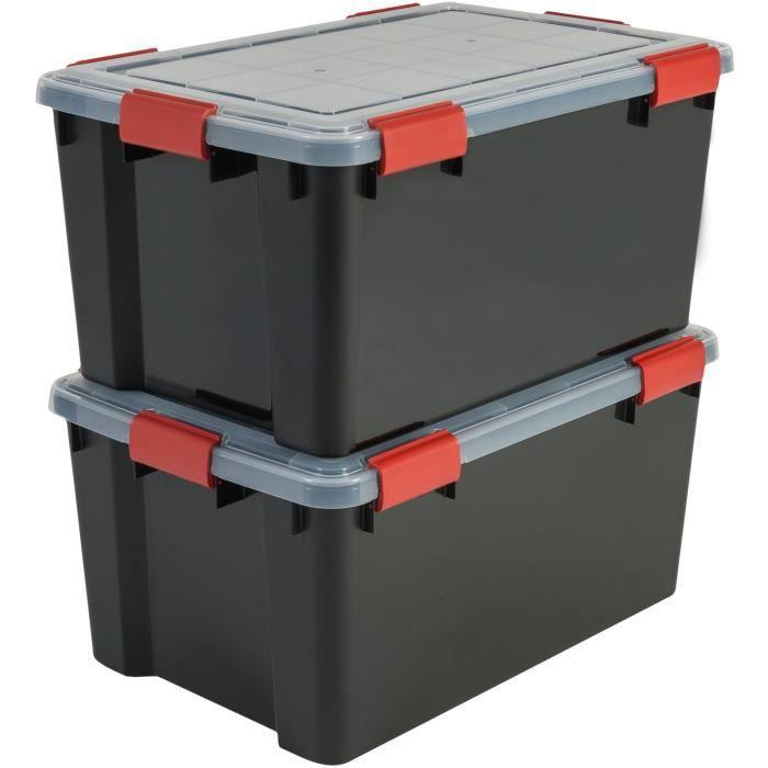 IRIS OHYAMA Set di 2 scatole ermetiche - Air Tight Box - AT-L - Nero e trasparente - 50 L - 59 x 39 x 29 cm