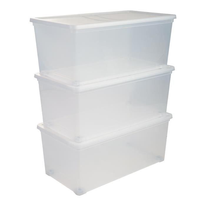IRIS OHYAMA Set di 3 contenitori con coperchio su rotelle NCBR-70 - 3x 70 L - L71,5 x P39 x H30,5 cm - Trasparente