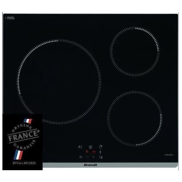 BRANDT TI364B - Piano cottura a libera installazione - 3 zone - 3600 W - L60 cm - Nero