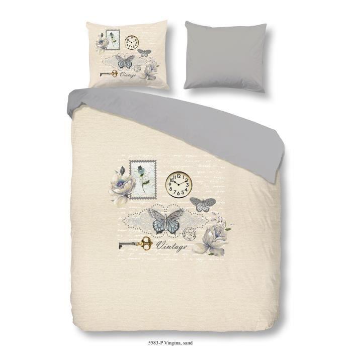 GOOD MORNING Parure de couette Coton Vingina - 1 housse de couette 200x200cm + 2 taies d'oreiller 60x70cm - Couleur sable
