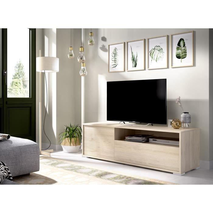 Meuble TV - Décor chene naturel - L 130 x P 41 x H 40 cm - OSLO